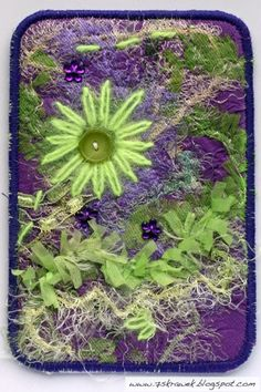 Fabric Postcard. I love purple, especially with green.