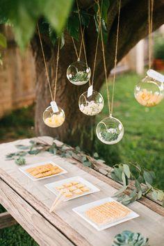 hanging terrariums food display
