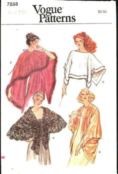 Evening Shawls, Vogue Sewing Patterns, Dress Brands, Cover Up, Handmade Items, Female, Jackets, Vintage, Down Jackets
