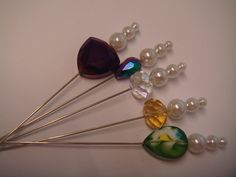 4B . A collection of crystal and pearl hat pins for hats, corsage or crafts  £2.95