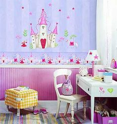 Fairy Princess Castle Mural Accent and 20 Wall Stickers