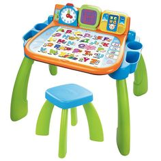 The VTech Touch & Learn Activity Desk is a fun, interactive learning desk, easel and chalkboard all in one! Nine colorful touch pages bring learning activities to life. Kids can learn about farm animals, discover ocean creatures, explore the town map and more! Each page has up to four learning modes with voice responses that encourage interaction and ask your child questions. Watch the LED screen to see how to write letters and numbers step-by-step. In music mode, read, write and listen to…