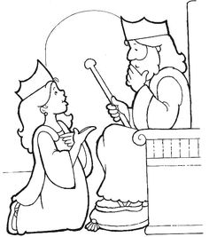 Queen Ester - Bible coloring page to print 017 | Queen esther, Bible ...