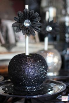 "Glittered Candy Apples by Autumn Lynn's Chocolate Sins as seen in ""Twilight Fairy's Hollow"" party designed by Soiree Event Design"