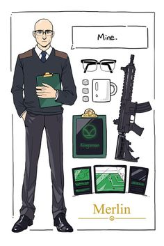 Merlin and his equipment Merlin Kingsman, Kingsman Movie, Taron Egerton Kingsman, Kingsman The Secret Service, Matthew Vaughn, Arte Nerd, Mark Strong, Oxford Brogues, Colin Firth