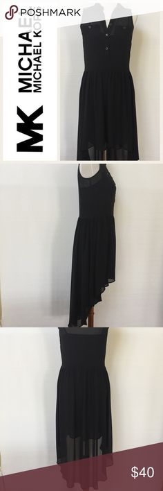"Michael Kors 2 Piece Black Dress EUC.  Sheer black fabric, both pieces.  High/low hem, button front, side zipper.  2 pieces, underslip and dress.  See photos.  I have taken a photo of slip separately.  Slip has adjustable straps.  Care tag has been removed.  Measurements as follows and taken while garment was laying flat:  Dress: armpit to armpit 17"".  Shoulder to hem: 34-38"".  Slip:  armpit to armpit: 15"".  Shoulder to hem:  36"".  Logo is internet stock photo. MICHAEL Michael Kors Dresses"
