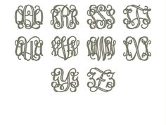 Open Vine Monogram Font Embroidery Fonts    Size