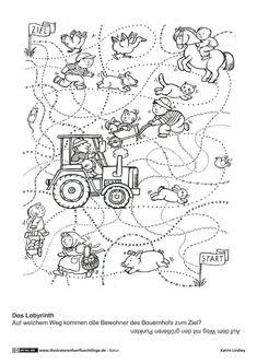 Download als PDF: Natur – Bauernhof Rätsel Spuren – Lindley Capacity Worksheets, Printable Worksheets, Printables, Activities For Kids, Crafts For Kids, Halloween Art Projects, Toddler Art Projects, Animal Antics, Kindergarten Worksheets
