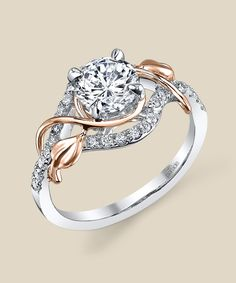 Two tone Rose and White Gold Parade Design Engagement Ring # R3118-R1