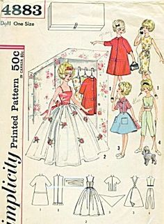 "Simplicity 4883 Vintage 60s Teen Fashion 12"" Doll Clothes Pattern for Dolls such as Tammy by Simplicity Co,"
