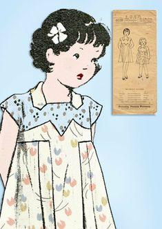 Butterick Pattern Little Girls Shirtwaist Dress Pattern. From the Late Unprinted Pattern. Childrens Sewing Patterns, Kids Patterns, Vintage Sewing Patterns, Doll Patterns, Vintage Kids Clothes, Vintage Girls, Vintage Children, Art Deco Dress, Images Vintage