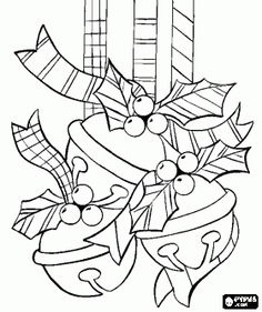 Jingle bells decorated with holly leaves hung like Christmas decoration coloring page - bjl