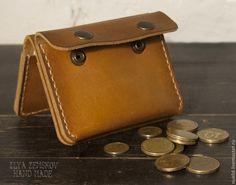 Купить Мини-портмоне - коричневый, натуральная кожа, натуральные материалы, вощеная нить, портмоне
