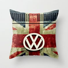 VW Retro Union Jack Throw Pillow by Alice Gosling - $20.00 Available in 3 sizes, indoor or outdoor options, with or without the insert.  #pillow #cushion #VW #Volkswagen #Campervan #VWBus #Flag #UnionJack