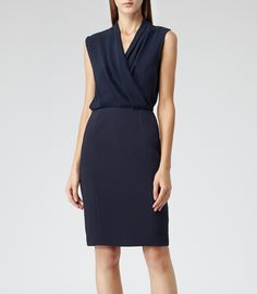 Womens Navy Draped Shift Dress - Reiss Cadiz - loved this one too