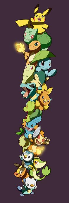 Pikachu, Bulbasaur, Charmander & Squirtle Chikorita, Cyndaquil &…