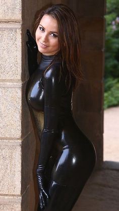 Latex catsuit outdoors
