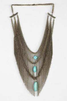 Turquoise Fringe Bib Necklace