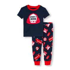 Baby Boys Baby And Toddler Boys Short Sleeve 'Mommy's Hero' Firefighter Graphic Top And Printed Pants Pj Set - Blue - The Children's Place
