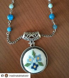 with ・・・ Mavi mine çiçeği en bi… Tiny Cross Stitch, Cross Stitch Designs, Cross Stitch Patterns, Cross Stitching, Cross Stitch Embroidery, Hand Embroidery, Minis, Fabric Jewelry, Tambour