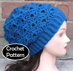 CROCHET HAT PATTERN Pdf Instant Download - Marina Slouchy Beanie Beret Tam Women Teen - Permission to Sell on Etsy, $4.50