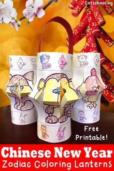 FREE printable Zodiac animal coloring pages that turn into Chinese lanterns. Great kids activity for Chinese New Year!