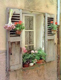 Shutters (via World Of Doors And Windows…) Garden Windows, Windows And Doors, Cottage Windows, Casement Windows, Provence France, Antibes France, Window Dressings, Window View, Through The Window