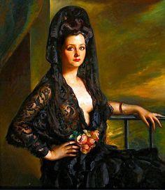 Victor Moya Calvo (Valencia 1890-Barcelona 1972). Dama con mantilla