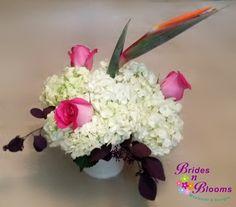Hydrangea & Roses with a Bird of Paradise