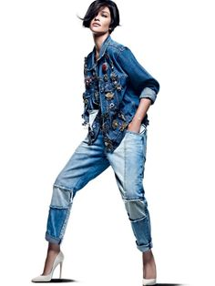 That jacket...Love. Vogue Brazil #denimondenim #tomboystyle #tomboy #denim  #denimjacket