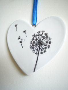 Dandelion hand painted ceramic heart blue by MeganAshwell on Etsy