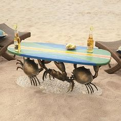 Crab Surfboard Table   yard art   sculpture   gift