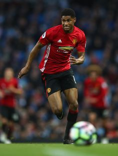 Marcus Rashford of Manchester United in action during the Premier League match between Manchester City and Manchester United at Etihad Stadium on April 27, 2017 in Manchester, England.