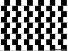 The Cafe Wall Stare at the pattern for a moment. Does the pattern grow distorted and funneled at the tips? Examine it closely and you'll see the alternating black and white lines are actually completely straight and square. Optical Illusion Photos, Optical Illusions Pictures, Illusion Pictures, Illusion Art, Illusion Drawings, Art Optical, Optical Image, Brain Illusions, Cafe Wall