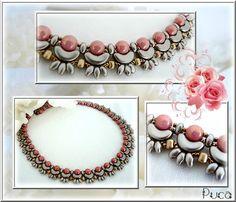 """collier """" Jade"""" Avec les perles Arcos® par Puca®. Pastel Brown Coco et les Minos®par Puca®. Light Gold Mat"""