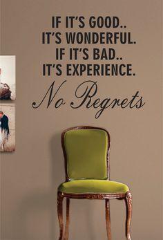 No Regrets Quote Decal Sticker Wall Vinyl Art