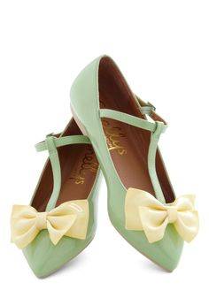 Steal the Bow Flat by Shellys of London - Mint, Yellow, Solid, Bows, Flat, Vintage Inspired, Fairytale, Pastel