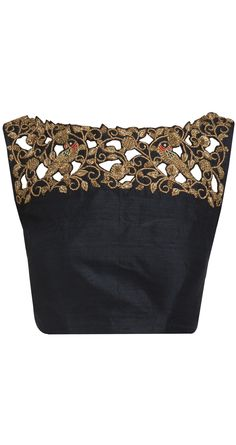 cutwork black blouse