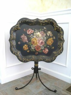 Antique Hand Painted Chippendale Tilt Top Metal Toleware Tole Side Tray Table ATTENTION PEOPLE....I want this for Christmas!!!!