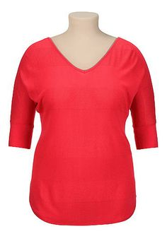 elbow sleeve shadow stripe plus size sweater (original price, $39) available at #Maurices