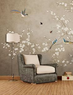 Taupe Chinoiserie Wallpaper verwisselbare Oosterse bloeiende Wall Art Designs, Wall Design, House Design, Chinoiserie Wallpaper, House Plants Decor, Wall Drawing, Traditional Wallpaper, Home Wallpaper, Bedroom Decor