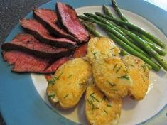 21 Day Fix Recipes: Beef - Cowboy Steak, Garlic Cheddar Potatoes and Asparagus with a Lemon Vinaigrette - 1 Red, 1 Yellow, 1 Green, 2 tsp, 1 Blue