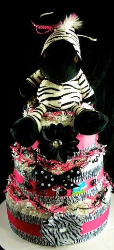 3 tier Girl Zebra Diaper Cake Baby Shower by mylittleangelco, $110.00