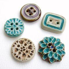 Handmade ceramic and glass buttons.