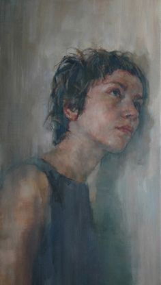 """Listener"" - Shaun Ferguson, 2005 {contemporary figurative art female head against wall woman face portrait cropped smudged painting #loveart} shaunferguson.co.uk"