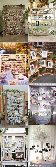 The shelf would be a good idea of can't find ladders for pic table. Old window shutters or window  frame could be cool too