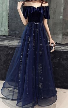 ball gown made of dark blue tulle lace, blue evening dress by Girl - . Long ball gown made of dark blue tulle lace, blue evening dress by Girl - .Long ball gown made of dark blue tulle lace, blue evening dress by Girl - . Blue Evening Dresses, Prom Dresses Blue, Pretty Dresses, Beautiful Dresses, Sexy Dresses, Summer Dresses, Wedding Dresses, Dark Blue Dresses, Homecoming Dresses