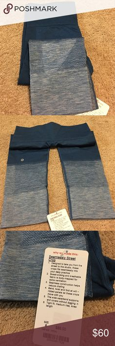 Lululemon Capri Lululemon seamlessly street Crop. Size 6. Blue crops that go to a fade. Very supportive. NWT. Smoke free, pet free home. lululemon athletica Pants Ankle & Cropped