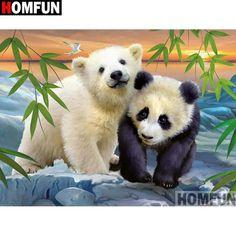 Diamond Painting Polar Bear and Panda Bear Cubs Kit Polar Cub, Baby Polar Bears, T Shirt Panda, Image Panda, Baby Animals, Cute Animals, Panda Love, Bear Art, Pembroke Welsh Corgi