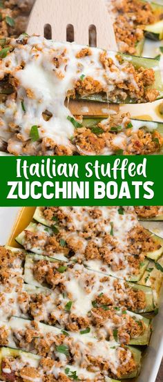 Italian Stuffed Zucchini Boats are an easy and healthy low carb dinner recipe! Use ground turkey mixed with pasta sauce to stuff your zucchini, this is like having pasta without the carbs! dinner low carb Stuffed Zucchini Boats - Crazy for Crust Zucchini Boat Recipes, Healthy Turkey Recipes, Crockpot Recipes, Healthy Zucchini, Keto Recipes, Stuffed Zucchini Recipes, Healthy Italian Recipes, Chicken Recipes, Advocare Recipes